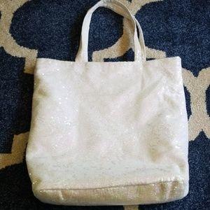 EUC Iridescent White Sequin Victoria's Secret Tote
